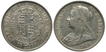 United Kingdom British Silver Coin 1/2 Half Crown 1899, Crowned Shield With Lions Within Central Circle, Older Type Bust Of Queen Victoria Left,