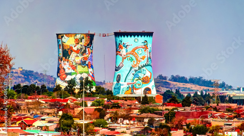 Acrylic Prints Graffiti Former powerplant, cooling tower, now is place for BASE jumping