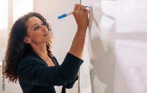 Fototapeta Woman entrepreneur writing on whiteboard in office obraz