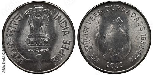 Fotografia  India Indian steel coin 1 one rupee 2003, subject Veer Durgadass, Asoka lion ped