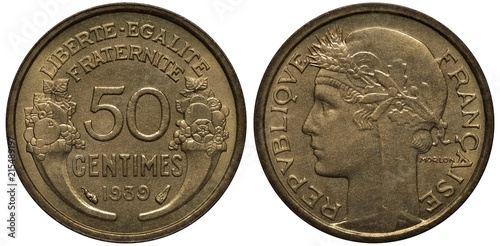 Fotografia  France French coin 50 fifty centimes 1939, denomination and date flanked by two