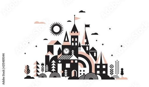 Fotografie, Obraz Geometric fairy tale kingdom, knight and princess castle, children room, class wall decoration