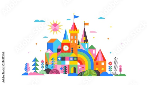 Obraz Geometric fairy tale kingdom, knight and princess castle, children room, class wall decoration. Colorful vector illustration - fototapety do salonu