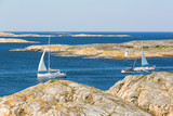 Sailing boats in rocky sea archipelago in the Swedish west coast