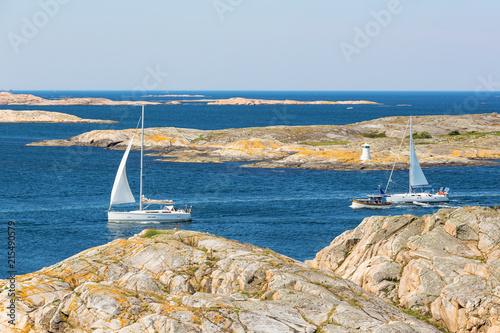 Sailing boats in rocky sea archipelago in the Swedish west coast Canvas Print