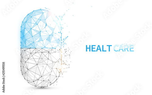 Pill capsule icon form lines, triangles and particle style design Wallpaper Mural