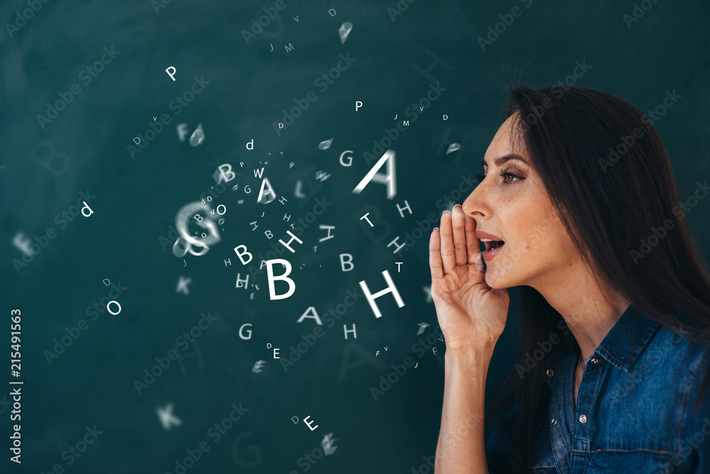 Fototapety, obrazy: School, English lesson ourse of studying a foreign language.