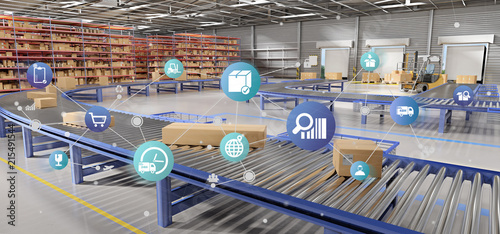 Logistic organisation on a warehouse background 3d rendering Canvas Print