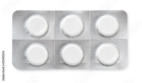 Fotografia, Obraz Top view of six tablets in  blister pack