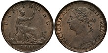 United Kingdom British Coin 1 One Farthing 1881, Seating Britannia With Oval Shield And Trident, Light House To The Left, Sail Ship At Right, Bust Of Queen Victoria Left,
