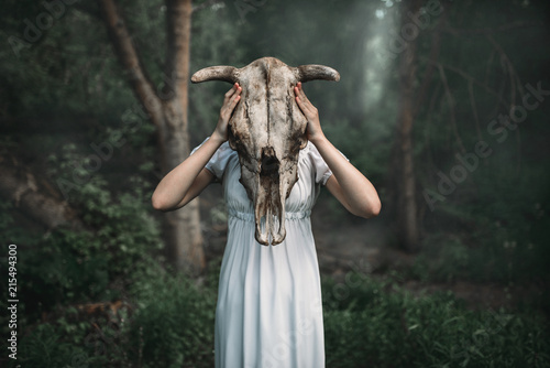 Victim with skull of the animal instead of head Fototapeta