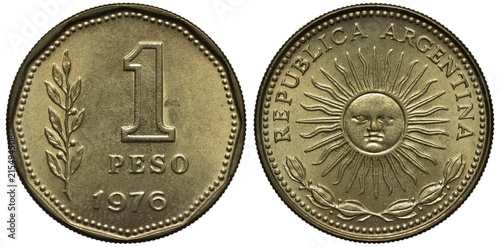 Fotografering  Argentina Argentinean coin 1 one peso 1976, denomination and date right to sprig