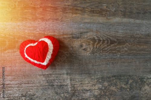 Three Red White Thread Heart On Dark Wooden Vintage Background Handmade Pretty Heart Love Romance Valentines Day Wedding Honeymoon Diy Concept Selective Focus Buy This Stock Photo And Explore Similar Images