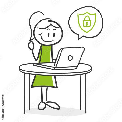 Stick Figure Series Green Woman / Frau am Laptop ist geschützt Wallpaper Mural