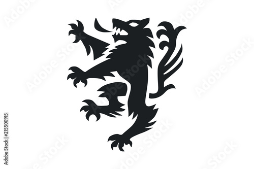 A Pet Dog Or Wolf Animal In A Rampant Heraldic Coat Of Arms Pose