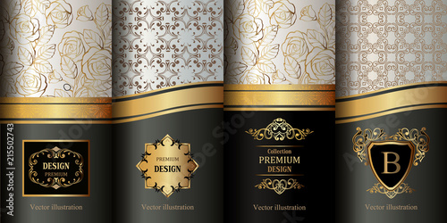 Foto  Collection of design elements,labels,icon,frames, for packaging, luxury background