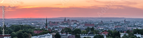 Fototapeta Krakow panorama from Krakus Mound, Poland landscape during sunset. obraz