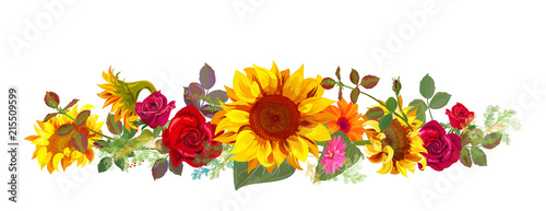 Fotografia Horizontal autumn's border: orange, yellow sunflowers, red roses, gerbera daisy flowers, small green twigs on white background