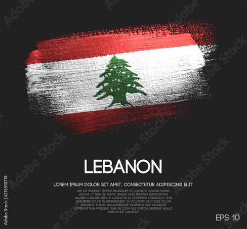 Photo Lebanon Flag Made of Glitter Sparkle Brush Paint Vector