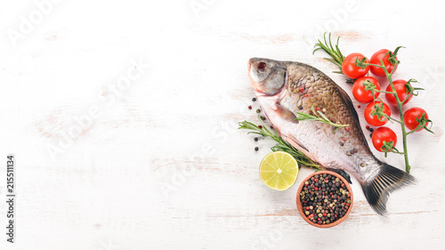 Fotografie, Obraz  Raw Fish with Spices and Vegetables