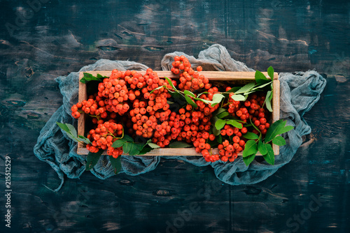 Fotografie, Obraz  Red rowanberry in a wooden box