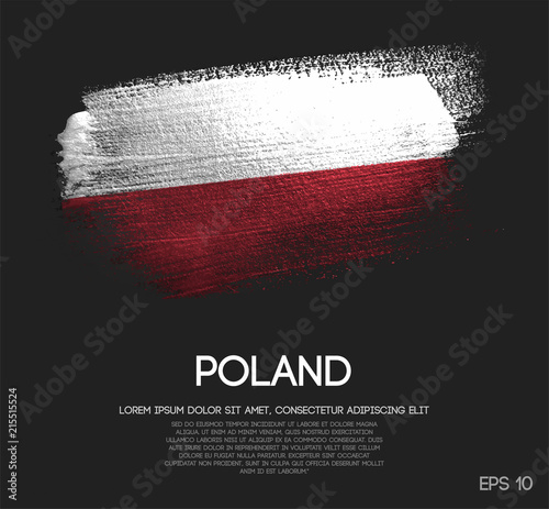 Fototapeta Poland Flag Made of Glitter Sparkle Brush Paint Vector obraz