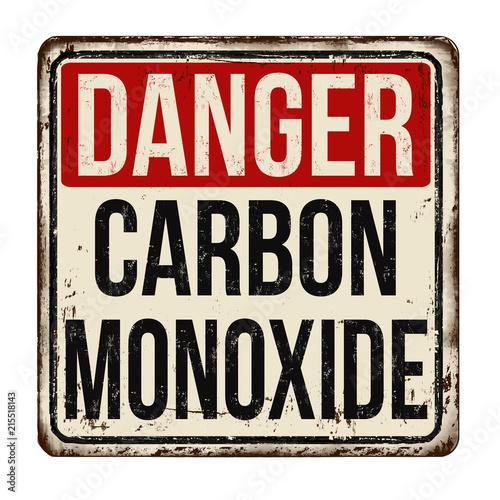 Valokuva Danger carbon monoxide  vintage rusty metal sign