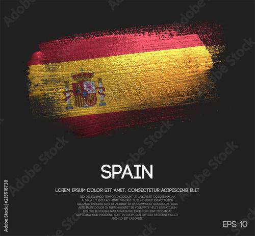 Fotografie, Obraz Spain Flag Made of Glitter Sparkle Brush Paint Vector