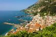 Beautiful aereial view of Amalfi town and port at Amalfi Coast, Italy
