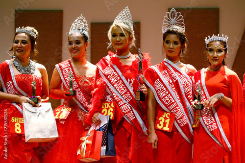 Contestants line up on stage at Rampstar 2018, a beauty pageant