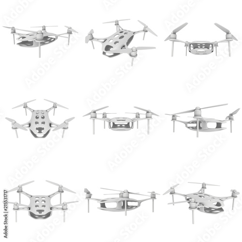 Remote control air drone set. Dron flying. 3d render isolated on white Wall mural