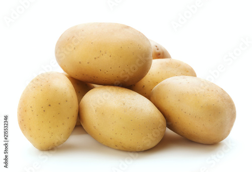 Vászonkép heap of raw potatoes isolated on white background