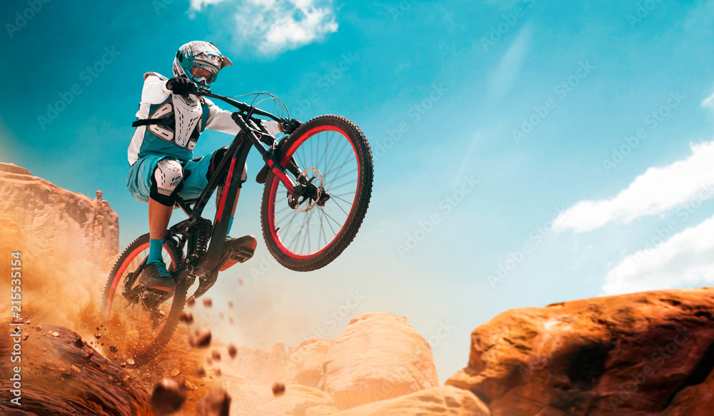 Fototapety, obrazy: Cyclist riding a bicycle. Downhill.
