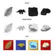 Sea dinosaur,triceratops, prehistoric plant, human skull. Dinosaur and prehistoric period set collection icons in black, flat, monochrome style vector symbol stock illustration web.