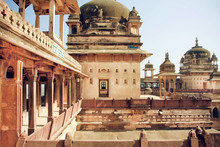 Classical Architecture In India. Towers Of Historical Structure And Balconies Built In Old Times
