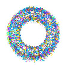 Festive Alphabet From Colorful Confetti Isolated On White Background