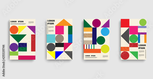 Photo Bauhaus. Poster , flyer template, circle abstract background.