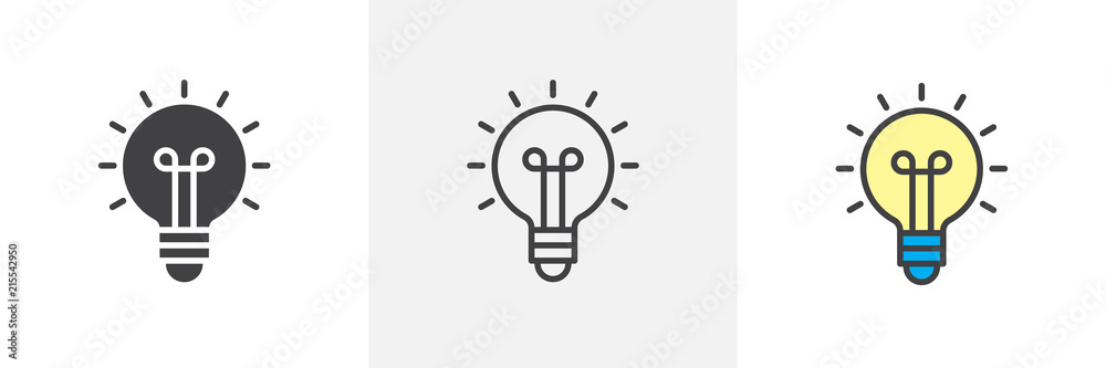 Fototapety, obrazy: Light bulb icon. Line, solid and filled outline colorful version, outline and filled vector sign. Idea Symbol, logo illustration. Different style icons set. Vector graphics