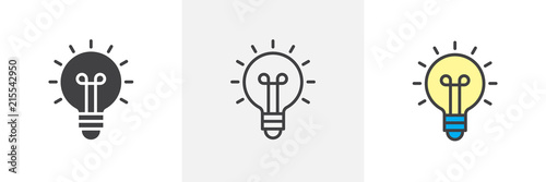 Obraz Light bulb icon. Line, solid and filled outline colorful version, outline and filled vector sign. Idea Symbol, logo illustration. Different style icons set. Vector graphics - fototapety do salonu