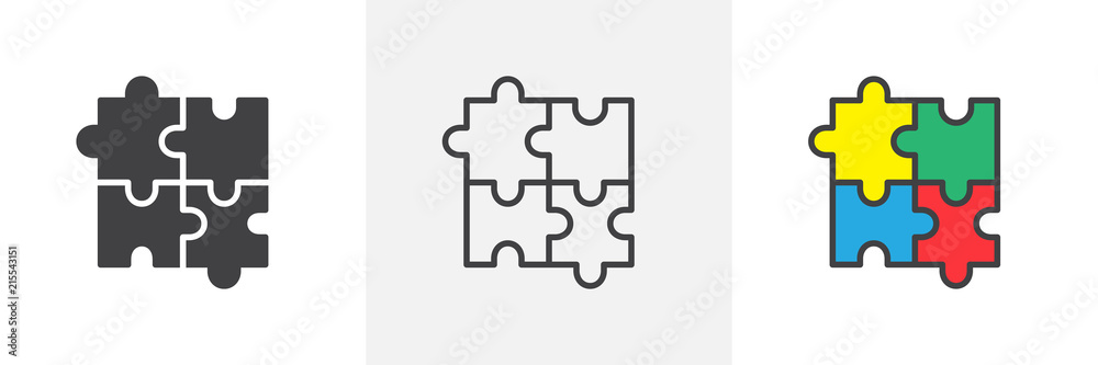 Fototapeta Puzzle icon. Line, solid and filled outline colorful version, outline and filled vector sign. Plugins symbol, logo illustration. Different style icons set. Pixel perfect vector graphics