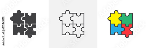 Obraz Puzzle icon. Line, solid and filled outline colorful version, outline and filled vector sign. Plugins symbol, logo illustration. Different style icons set. Pixel perfect vector graphics - fototapety do salonu