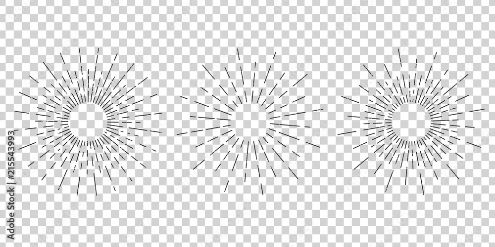 Fototapety, obrazy: Vector isolated vintage sun rays for decoration and covering on the transparent background. Concept of sunburst and retro design.