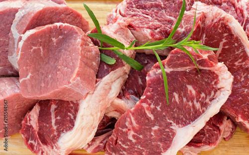 Poster Vlees Fresh raw beef meat steak slices