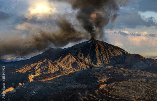 Poster Volcano Volcanic eruption, ash and smoke ejection