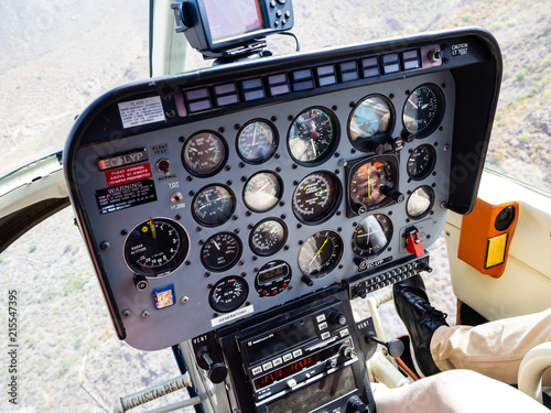 Tablou Canvas Inside view of a helicopter cockpit / dashboard & Instruments panel