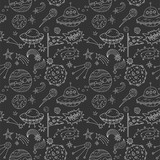 Fototapeta Kosmos - Seamless vector pattern with cosmos doodle illustrations. Galaxy handdrawn elements.