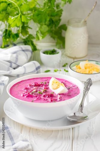 Cold borsch, summer beet soup with fresh cucumber, radish and boiled egg in white bowl. Traditional European food, delicious lunch