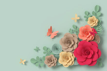 Flower Paper Style, Colorful R...