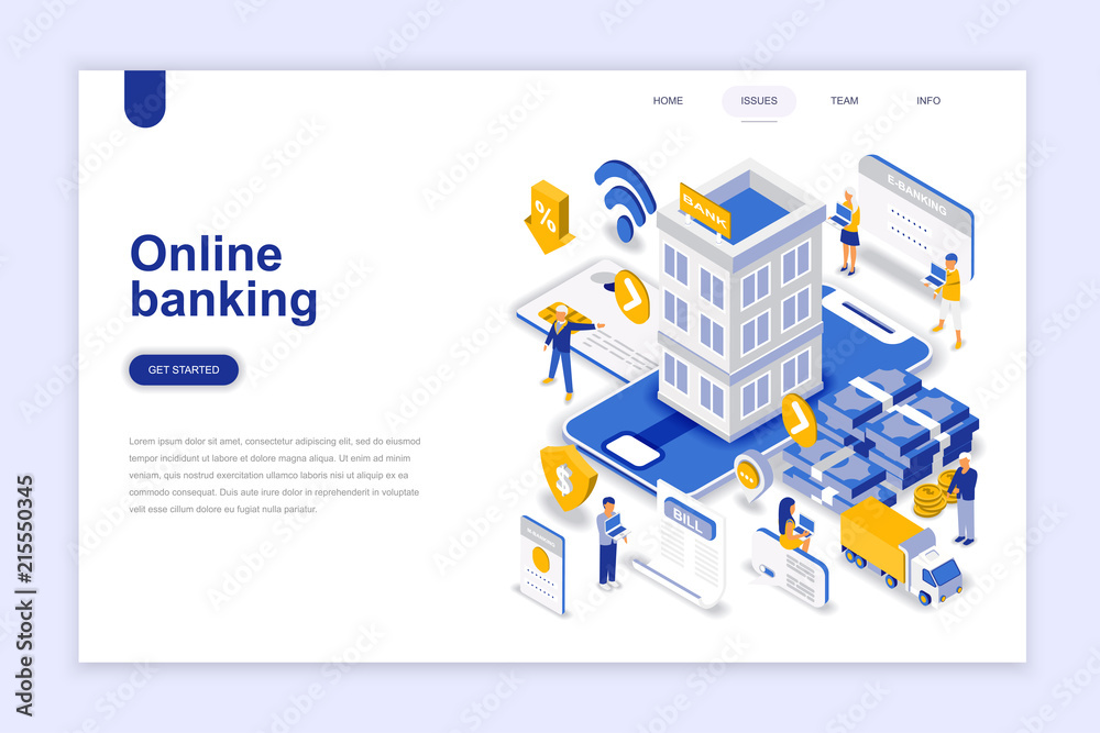 Fototapeta Online banking modern flat design isometric concept. Electronic bank and people concept. Landing page template. Conceptual isometric vector illustration for web and graphic design.