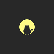 A Logo Fat Black Cat Sits On The Background Of A Large Full Moon, A Design Of A Round Logotype, A Circle Is A Geometric Shape.